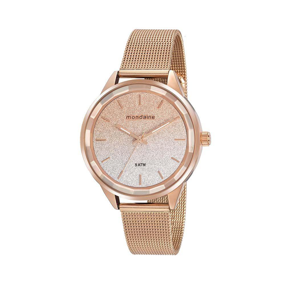 Relógio Feminino Mondaine Vidro Facetado Rosê 76735LPMVRE2