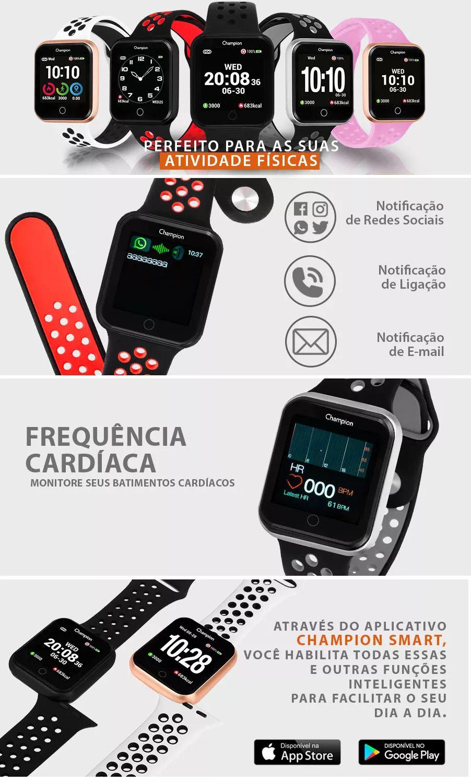 Relógio Unissex Champion Smartwatch Preto CH50006V