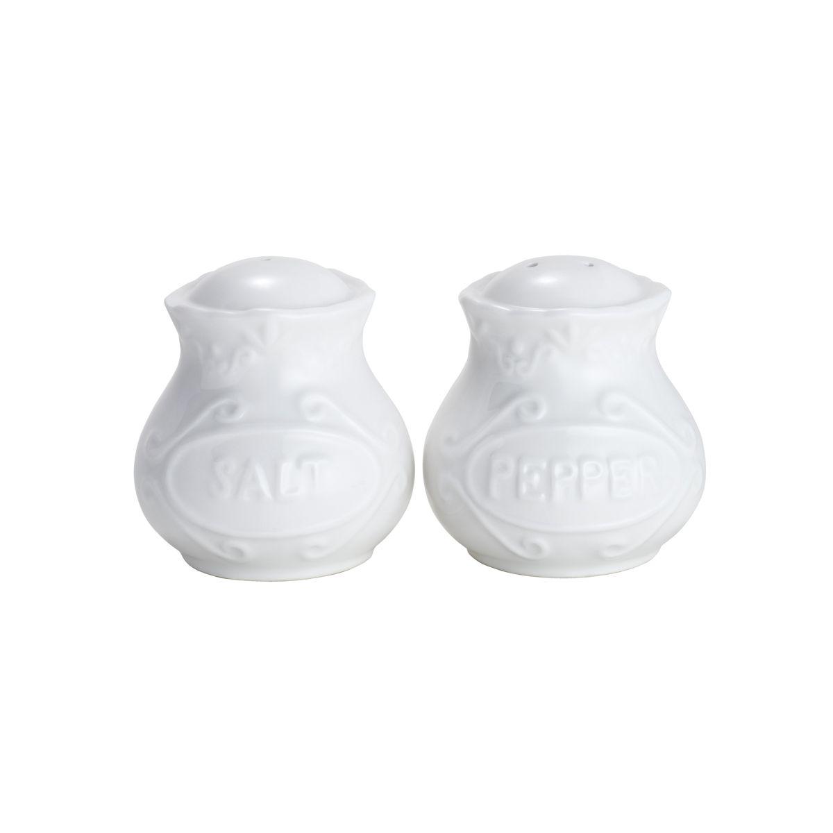Saleiro e Pimenteiro Wolff Alto Relevo Branco em Porcelana 25099 - 2 Peças