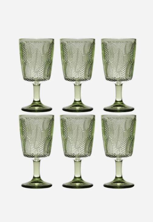Taça de Vidro Leaves Verde 6 peças Bon Gourmet - Rojemac