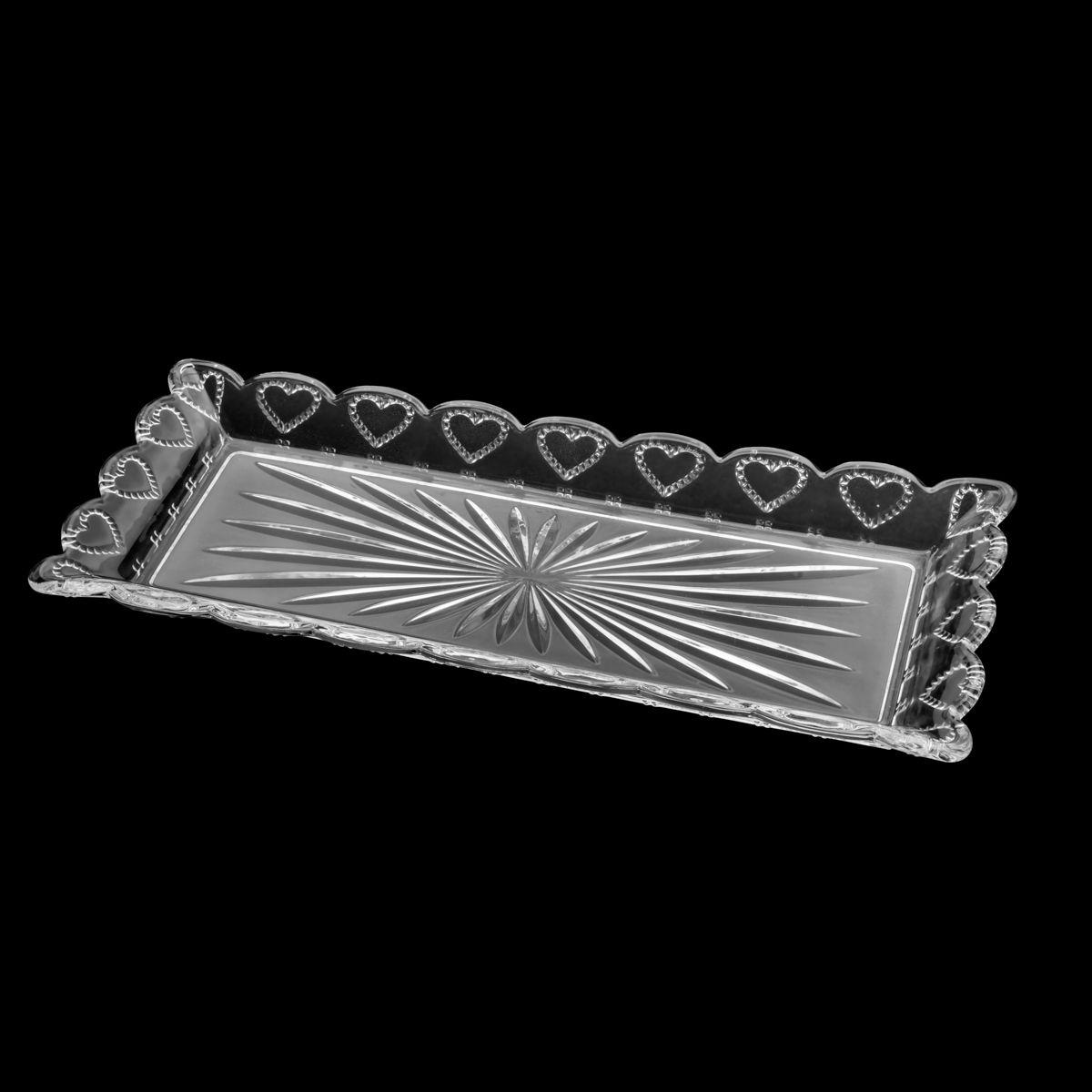 Travessa Lyor Heart em Cristal 43x16,5x3,5cm 7225