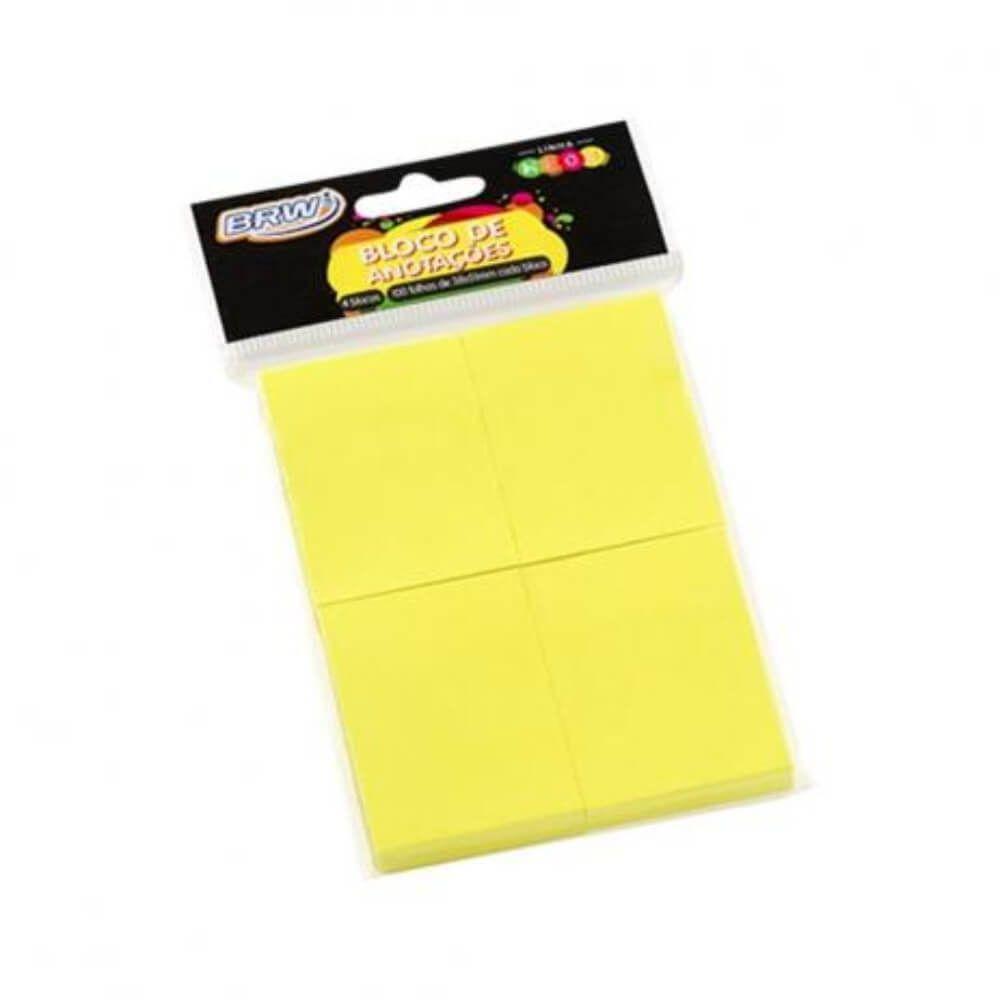 Bloco de Anotações Amarelo Neon 38x51mm BRW 04un com 100fls