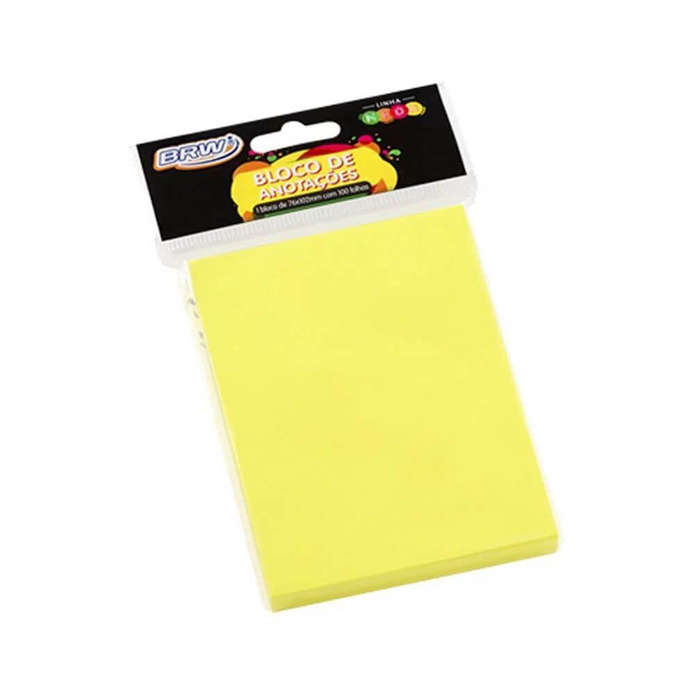 Bloco de Anotações  Amarelo Neon 76x102mm BRW 01un com 100fls