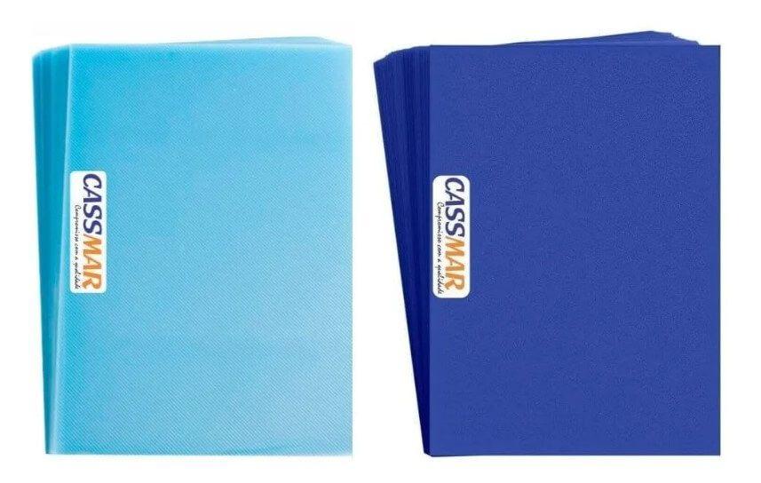 Capa Para Encadernação A4 Cristal Line + Azul Couro 200 Un