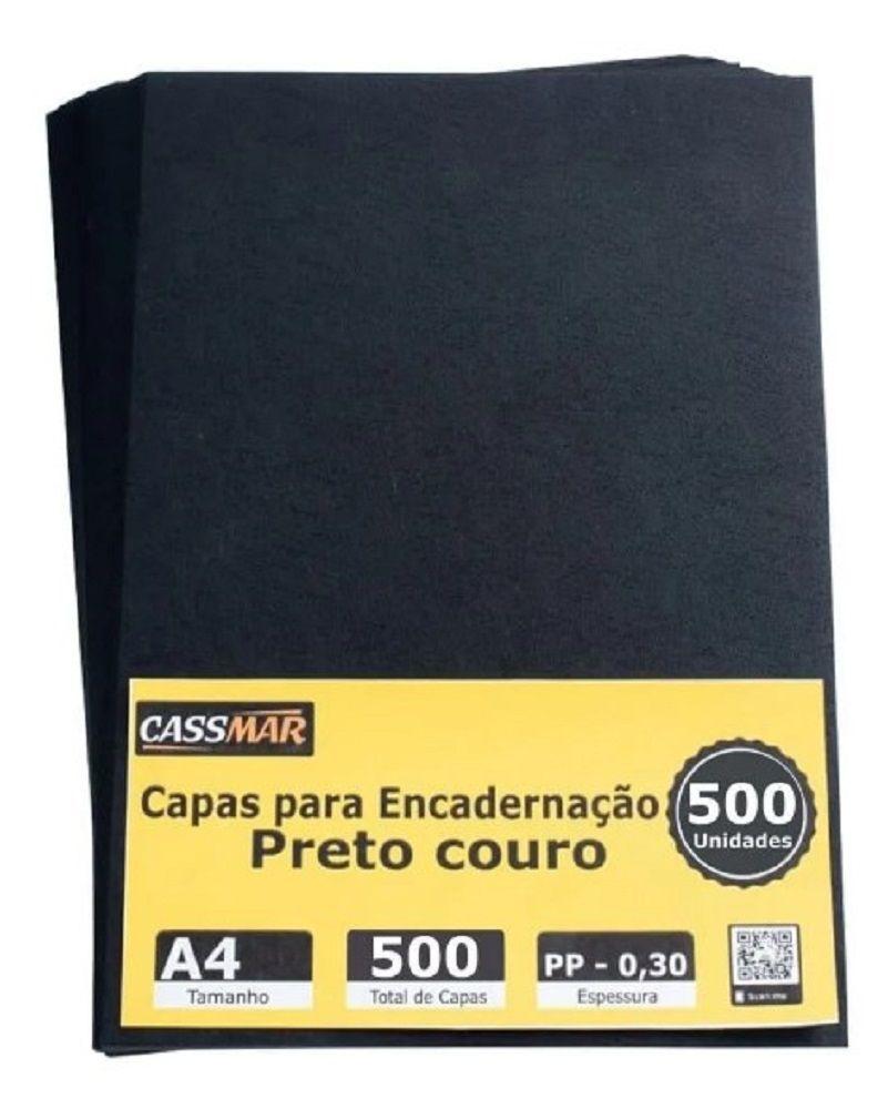 Capa Para Encadernação A4 Preta Couro Fundo 500 Un