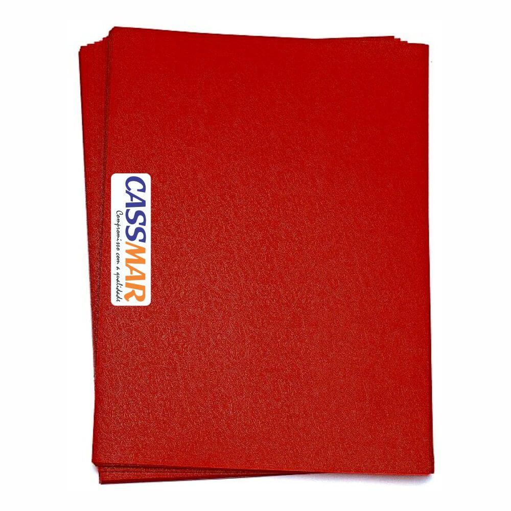 Capa Para Encadernação Vermelho A4 | Pp Couro Fundo 100 Un