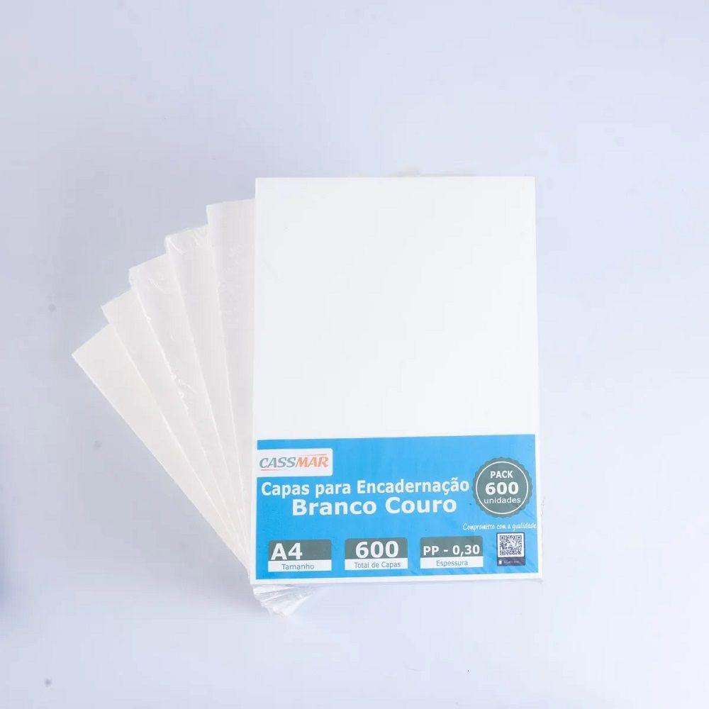 Capa Para Encadernação Branca Couro A4 PP 0,30 600un