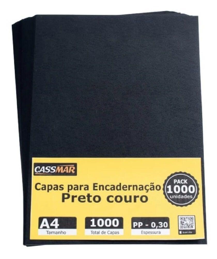 Capa Para Encadernação Preto Couro A4 Pp 0,30 1000un