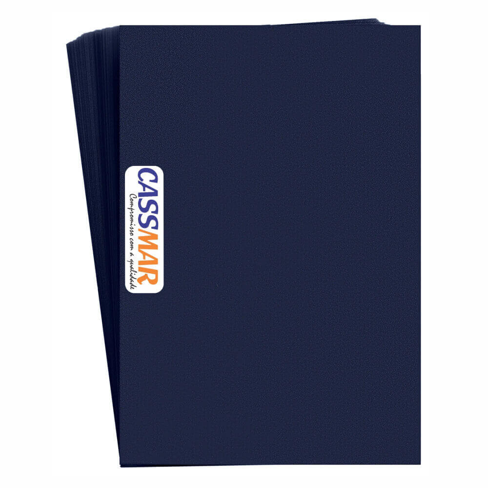 Capa para Encadernação PVC A4 Azul Marinho Fundo camurça 100un
