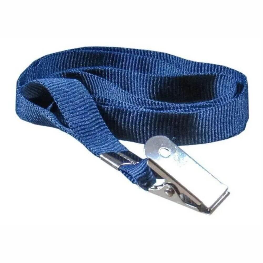 Cordão Para Crachá Com Jacaré Azul Marinho 12mm Cassmar 10un