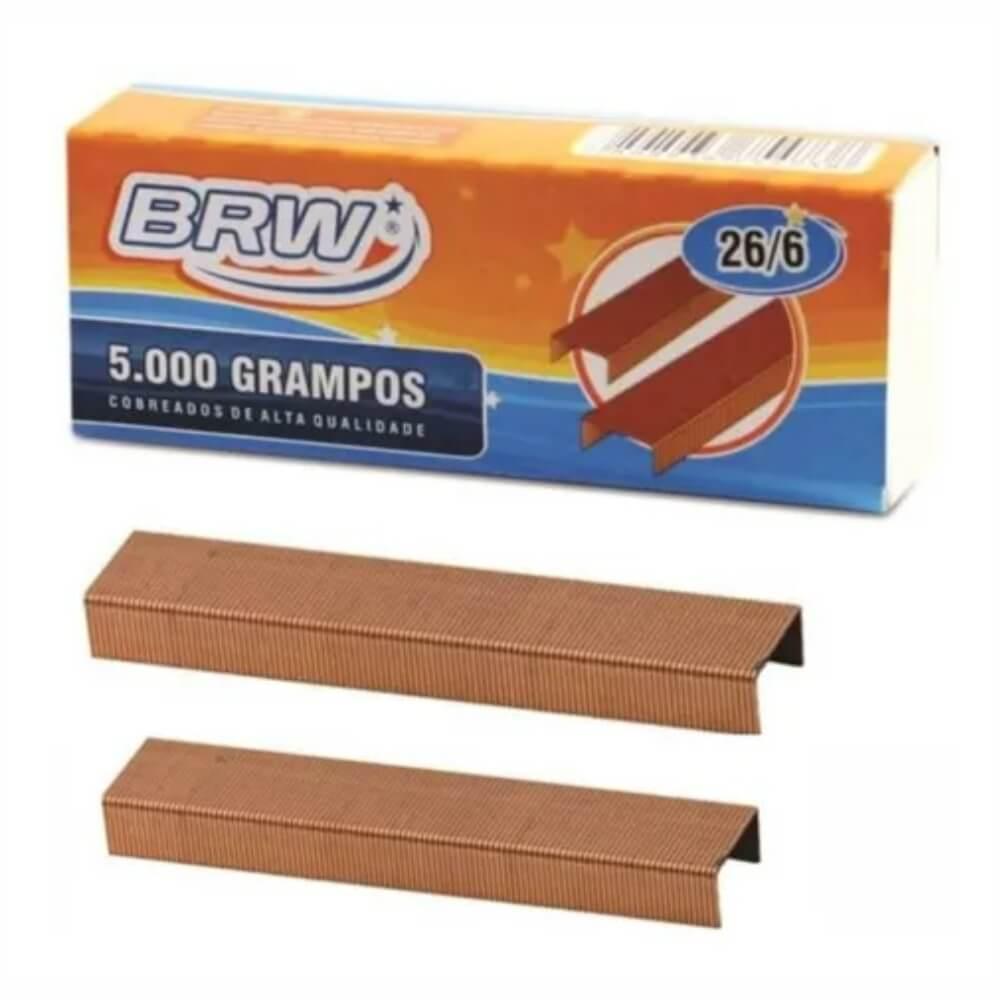 Grampo 26/6 para grampeador 20fls Cobreado BRW 5000un