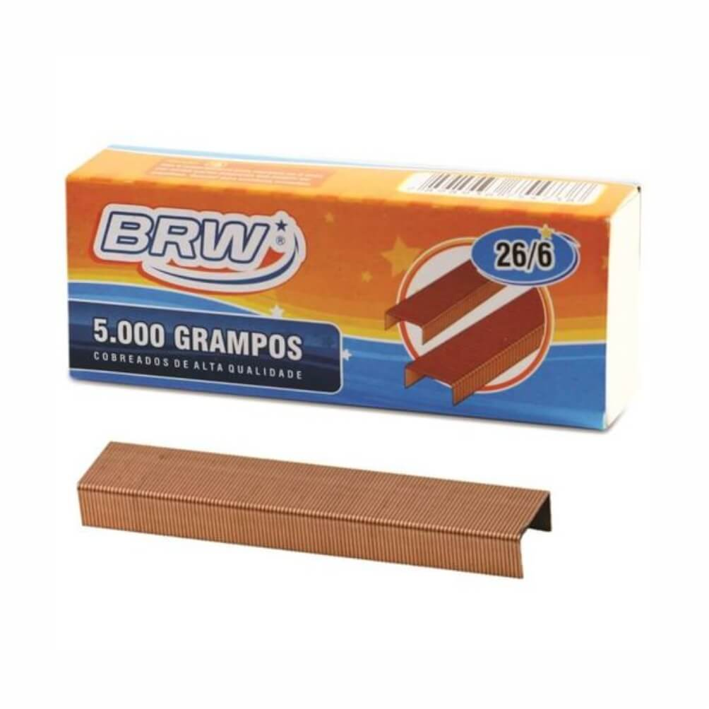 Grampo Cobreado 26/6 para grampeador 20fls BRW 5000un