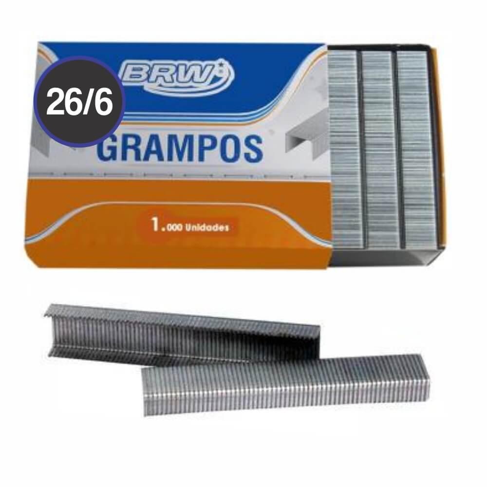 Grampo Galvanizado 26/6 para grampeador 20fls BRW 1000un