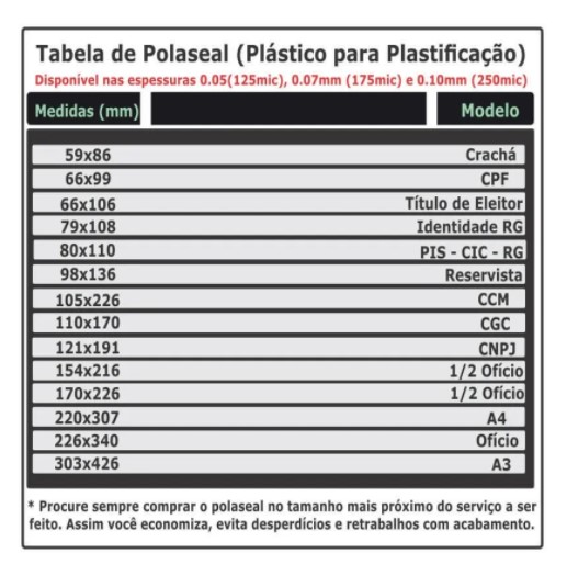 Kit 300 Polaseal Crachá Cpf Rg 0,10mm Para Plastificação