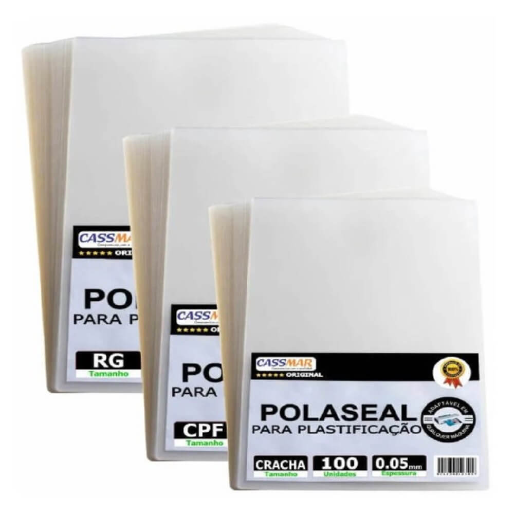 Kit 300 Polaseal Plástico para Plastificação Crachá CPF RG 0,05mm