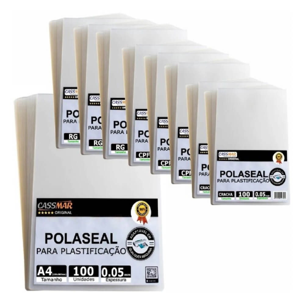Kit 900un Polaseal (crachá - Cpf - Rg - A4) 0,05 125mic