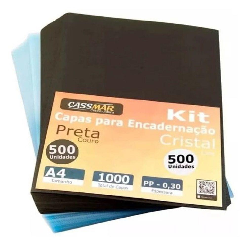 Kit Capa Encadernação A4 - Preta Couro + Cristal Line 1000un