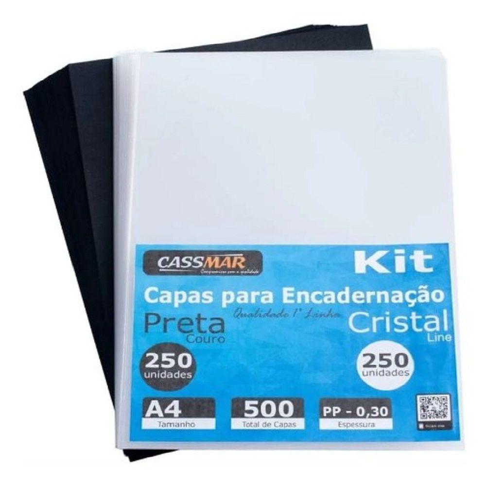 Kit Capa Encadernação A4 Preta Couro + Super Cristal Line 500un