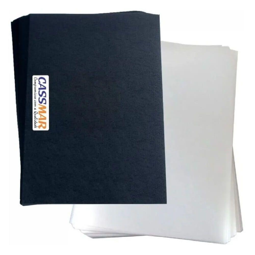 Kit capa encadernação A4 transparente lisa + preta couro 200