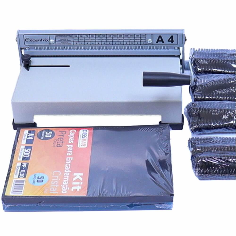 Kit Encadernação Encadernadora Espiral A4-X + 100 Capas + 100 Espirais