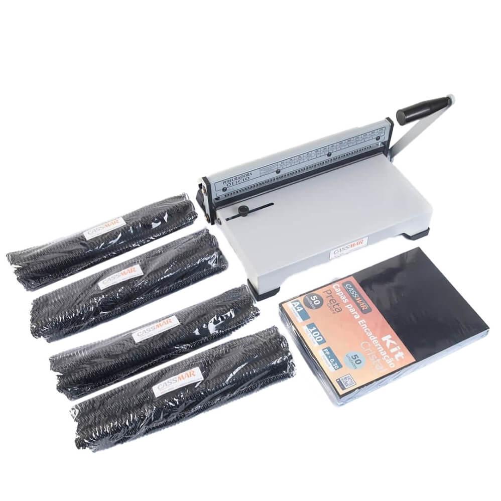 Kit encadernação encadernadora ex-15 + 100 capas e espirais