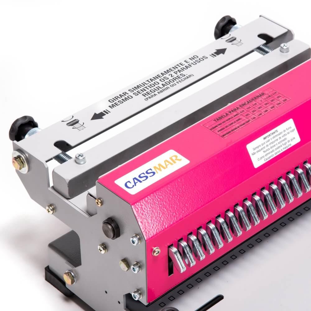 Kit Encadernadora de wire-o 3x1 Rosa + 100 Capas A4 + 100 Wire-o Branco
