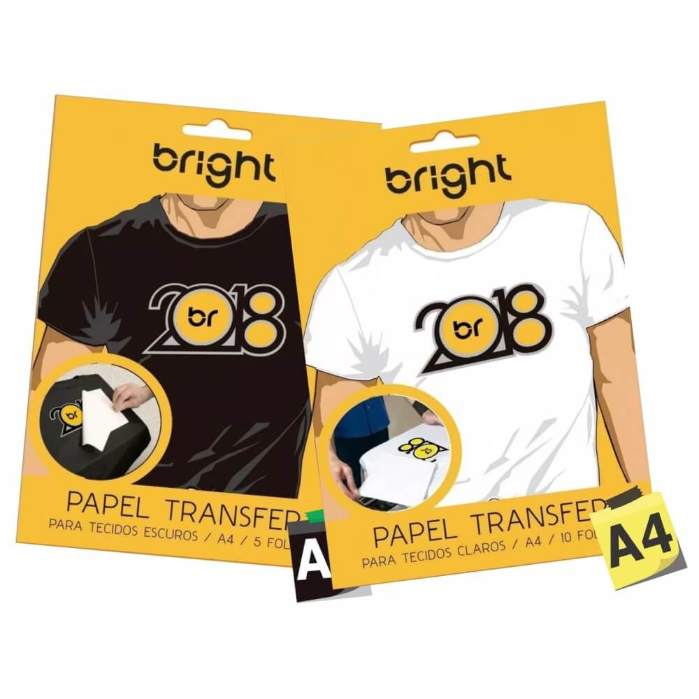Kit Papel Transfer para Algodão Claros e Escuro Bright 15fls