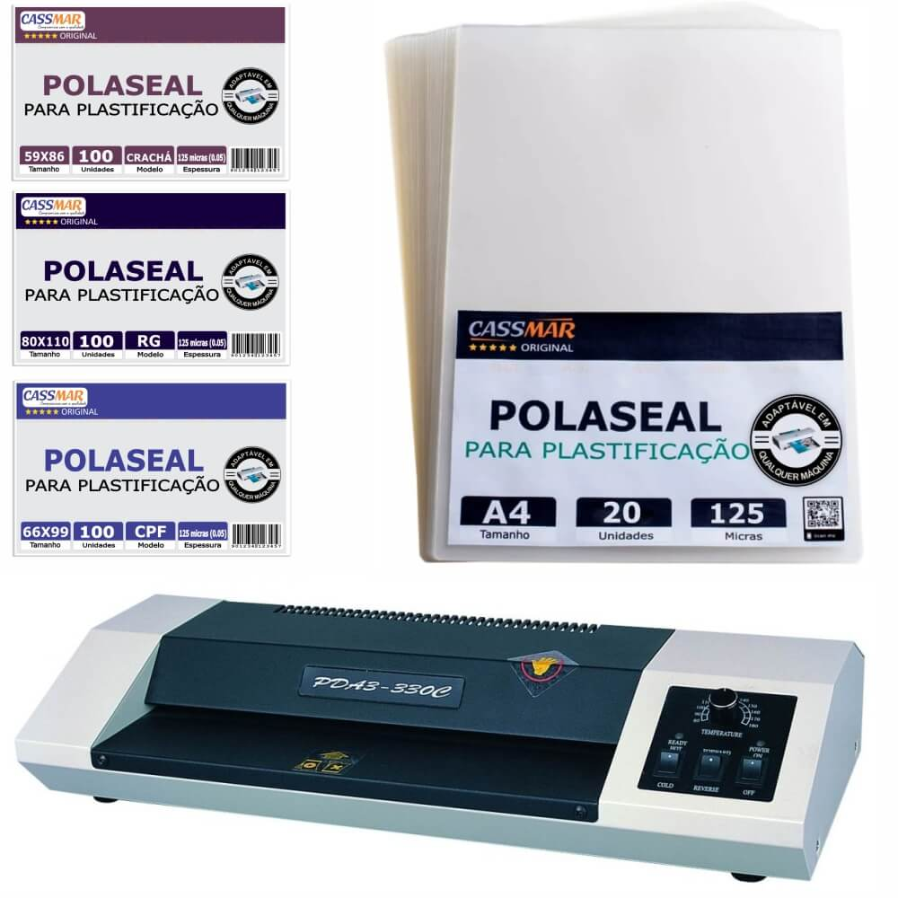 Kit Plastificação - Plastificadora 330 C + 320 Polaseal 110V