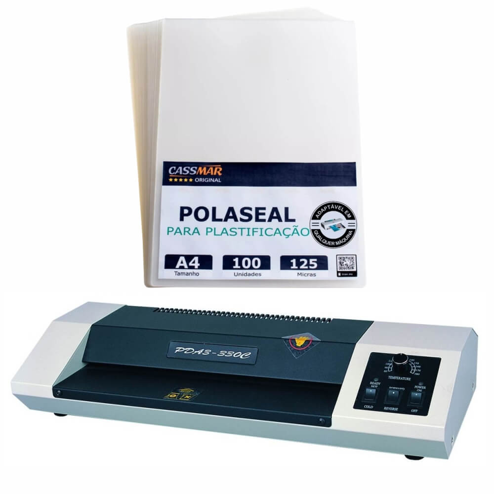 Kit Plastificadora 330C 110v + Polaseal A4 0,05mm 100 Un