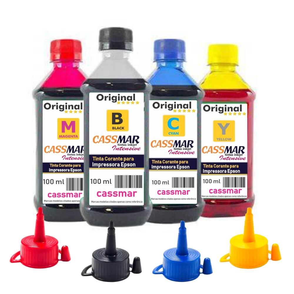 Kit Tinta Epson impressora L355 L365 L375 L395 CMYK 4x100ml