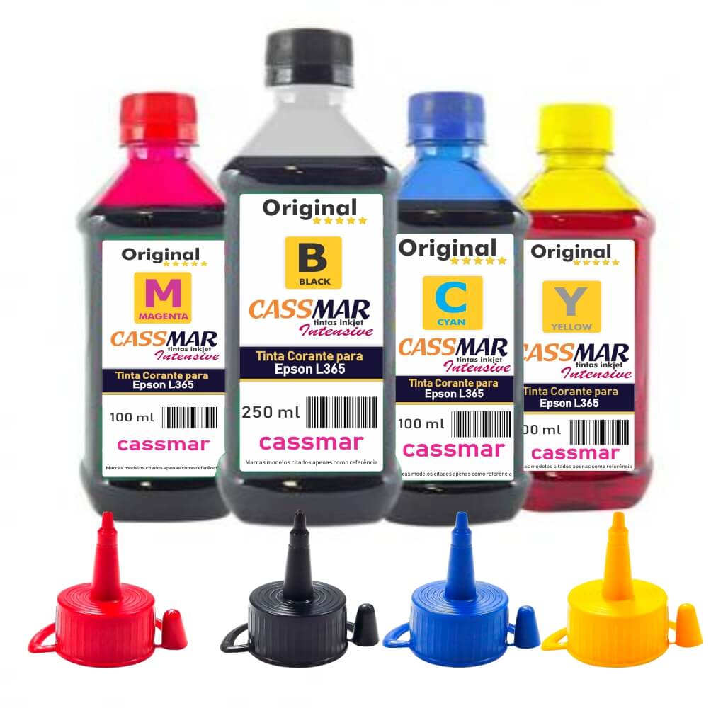Kit Tinta Epson L365 Eco Cassmar BK 250ml e Coloridas 100ml