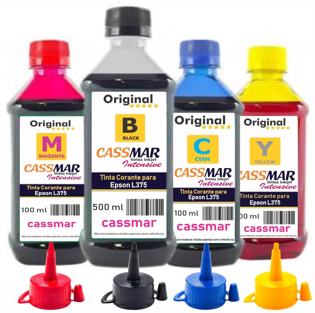 Kit Tinta Epson L375 Eco Cassmar BK 500ml e Coloridas 100ml
