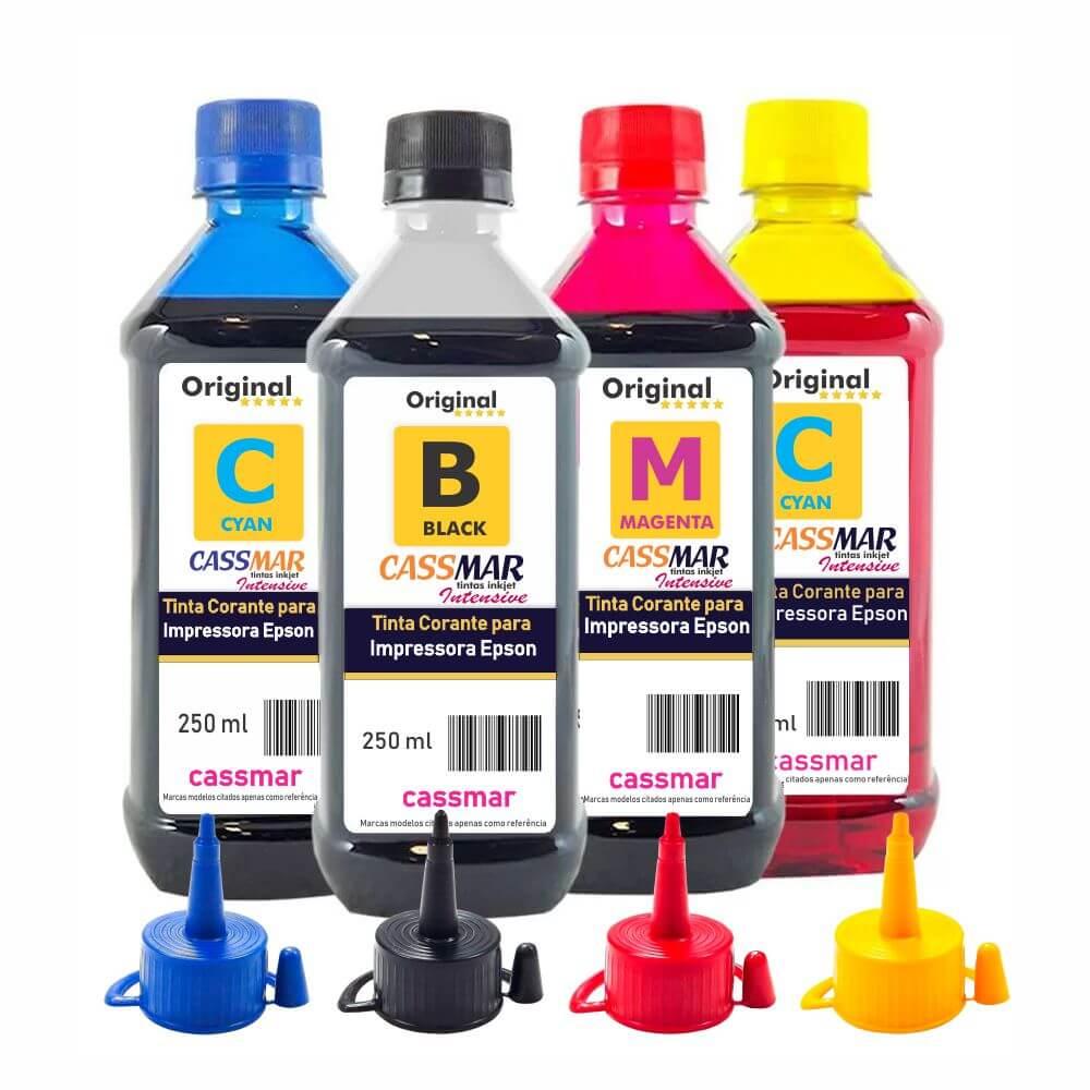 Kit Tinta para impressora Epson L375 Eco Cassmar CMYK 4x250ml