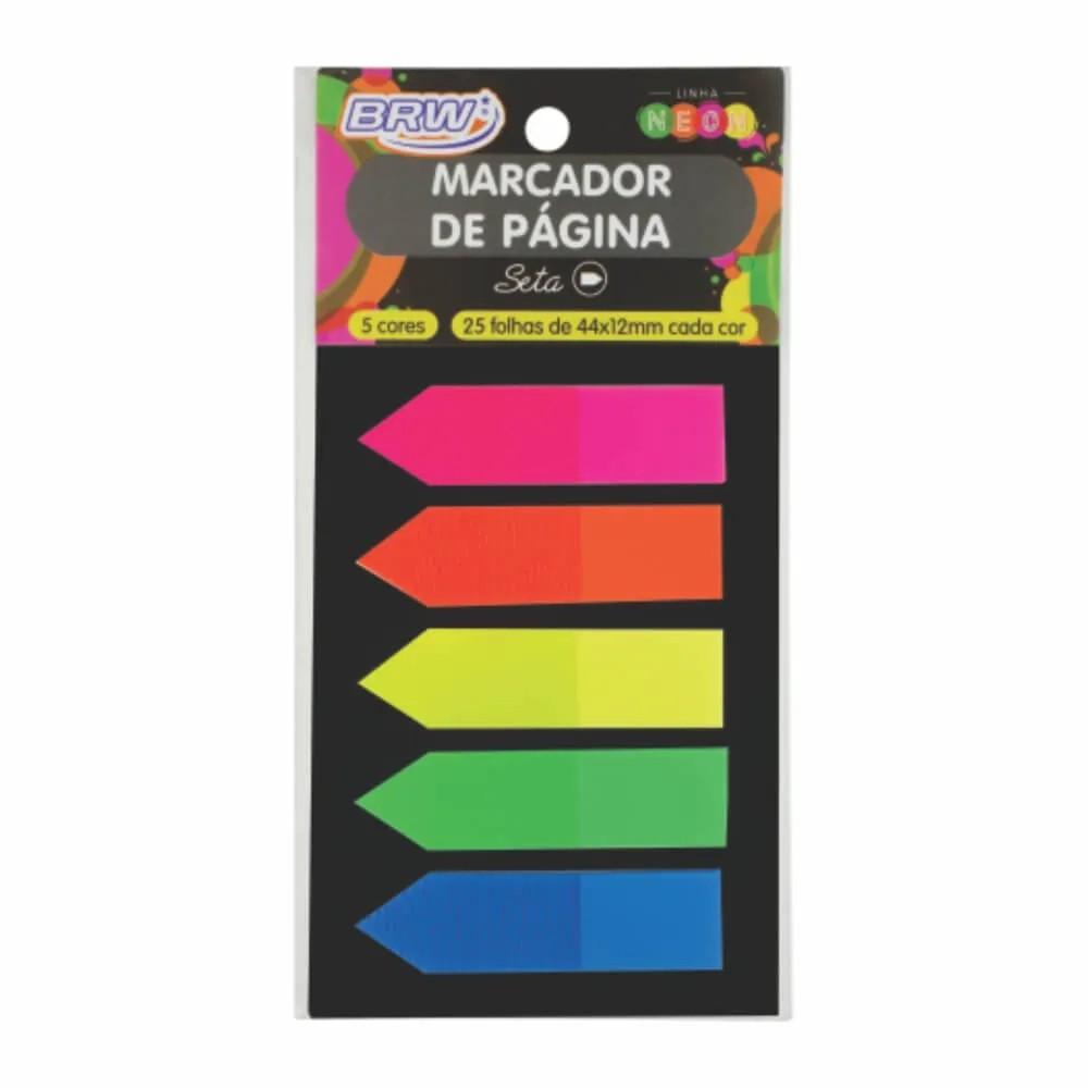 Marcador De Pagina Adesivo 12x44mm Neon Seta 5 Cores