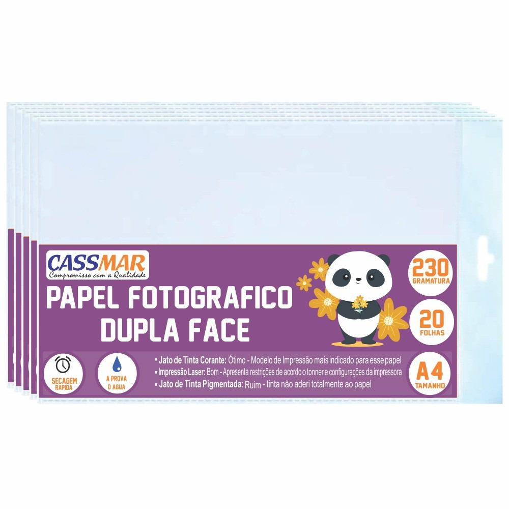 Papel Fotográfico  Dupla Face A4 230g Cassmar  1000 FLS