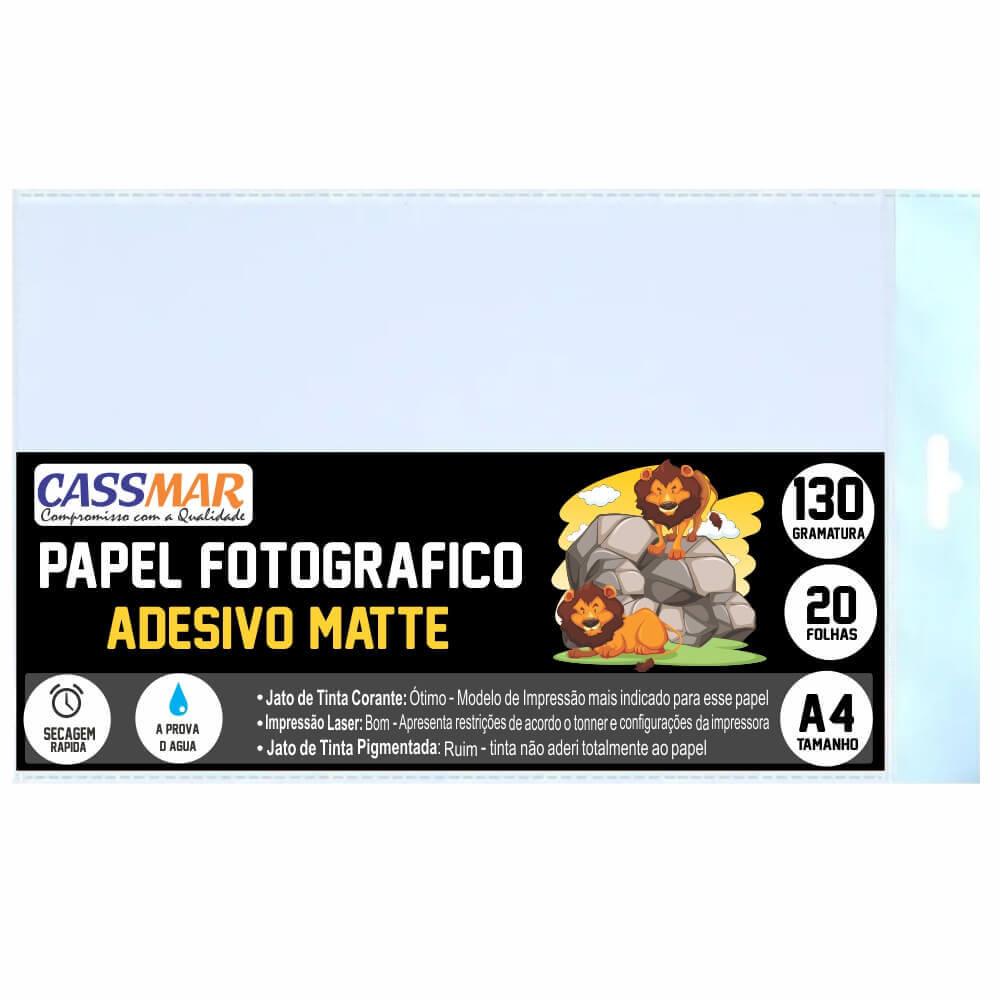 Papel Fotográfico 130g Adesivo fosco Matte A4 210x297mm Cassmar 20 Fls