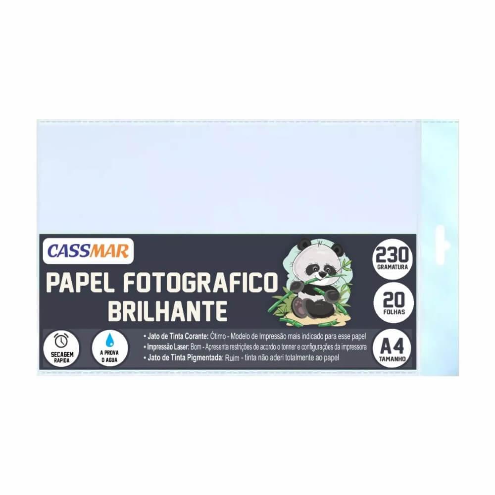 Papel Fotográfico 230g Brilhante A4 210x297mm Cassmar 20 Fls