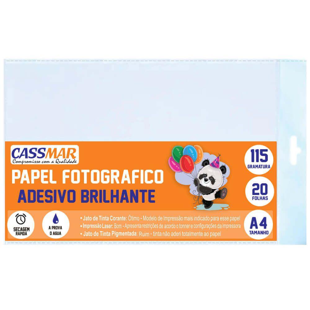 Papel Fotográfico Adesivo A4 Brilhante 115g Cassmar 20fls