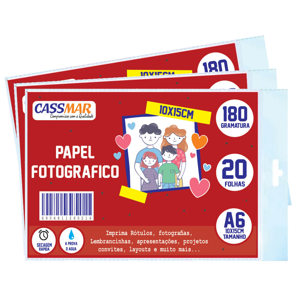 Papel Fotográfico Brilhante 10x15 180g Cassmar 100 fls