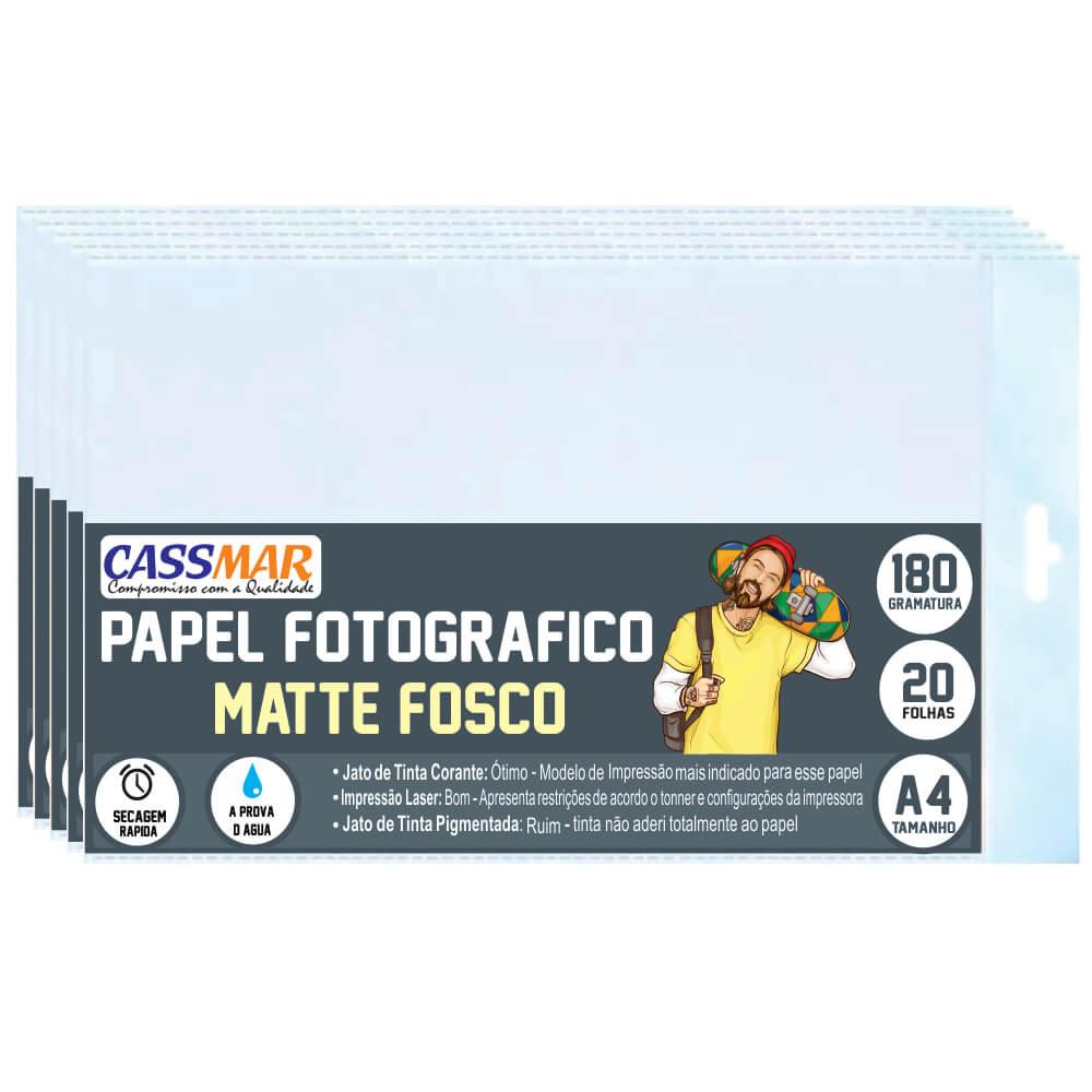 Papel Fotográfico Matte Fosco A4 180g Cassmar 100 fls