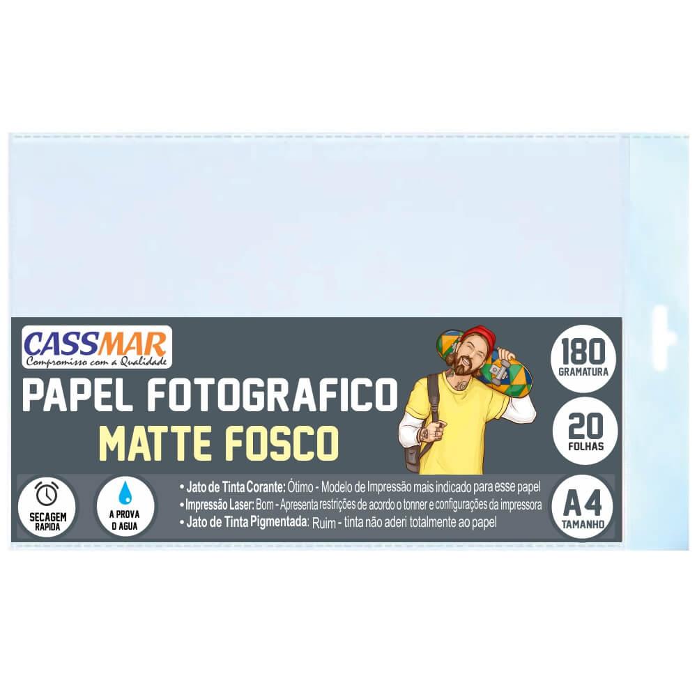 Papel Fotográfico Matte Fosco A4 180g Cassmar 20 fls