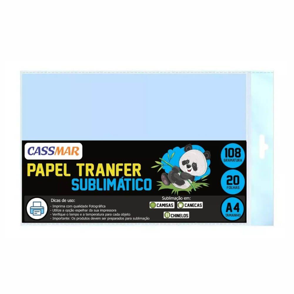 Papel Transfer Azul Sublimático A4  Cassmar 20 Folhas