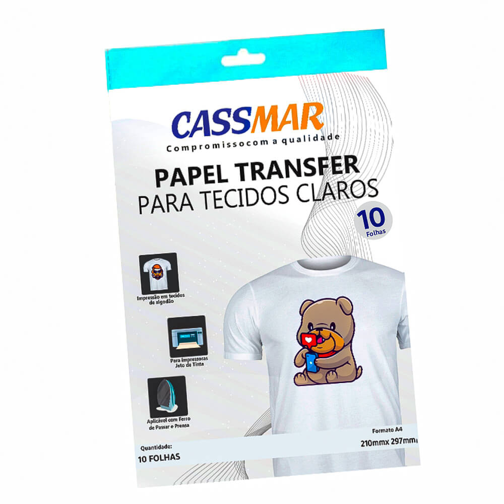 Papel Transfer Jato De Tinta A4 Tecidos Claros 150g/m² 10fls Cassmar 10 Fls