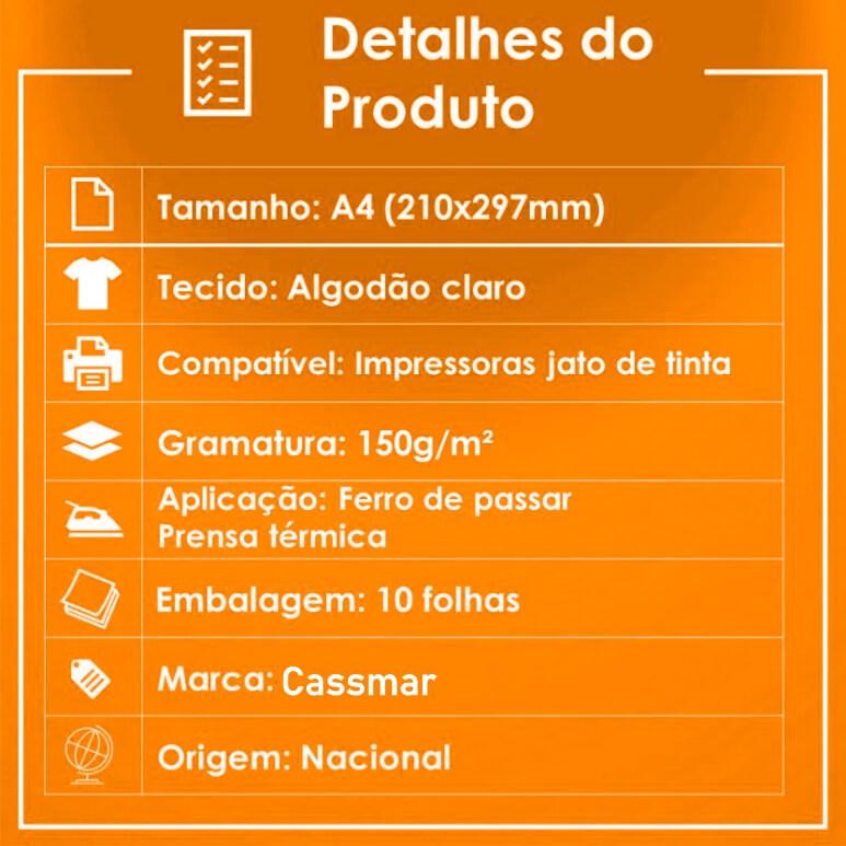 Papel Transfer Jato De Tinta A4 Tecidos Claros 150g/m²  Cassmar 20 Fls
