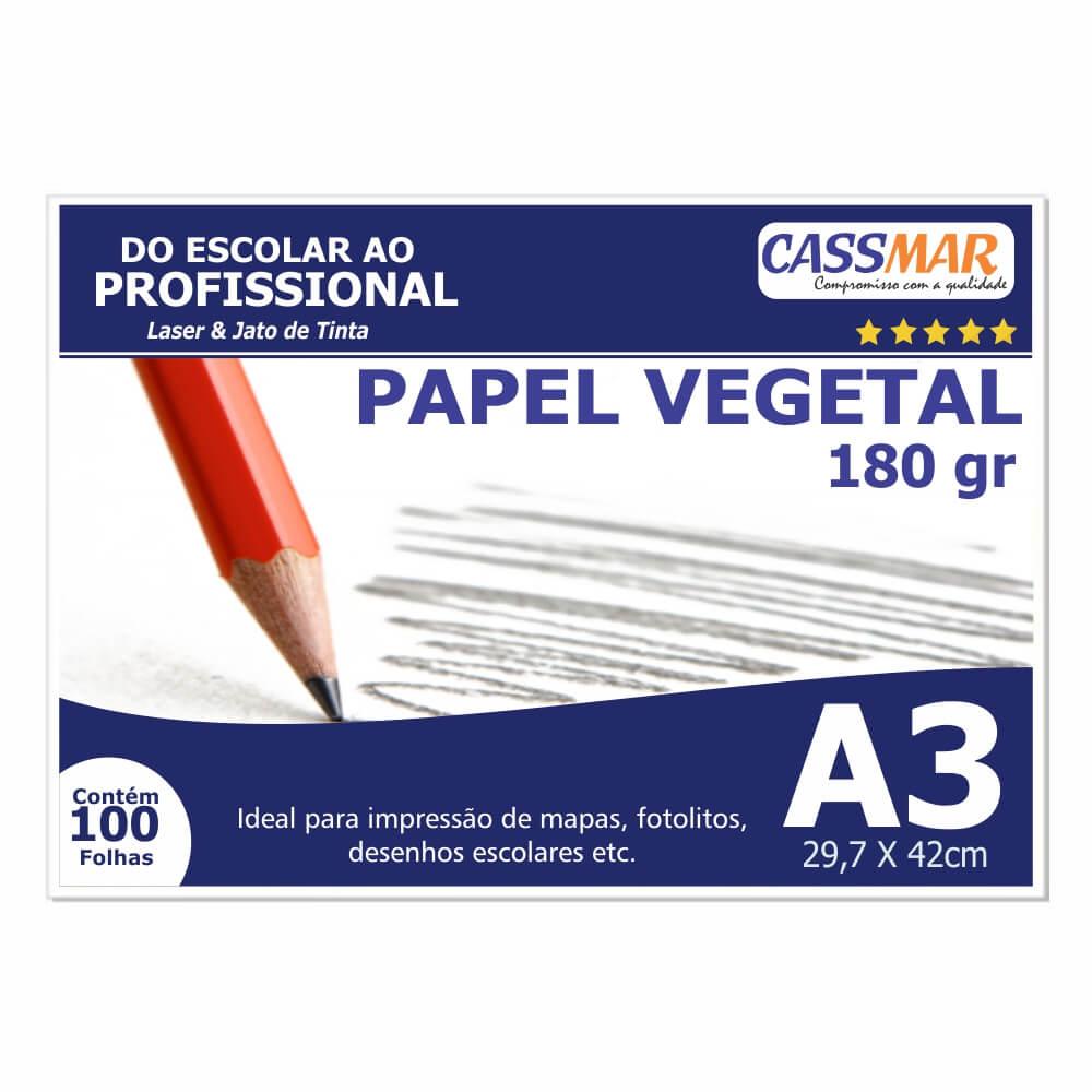 Papel Vegetal A3 297x420mm 180 g/m² Translúcido 100 Fls