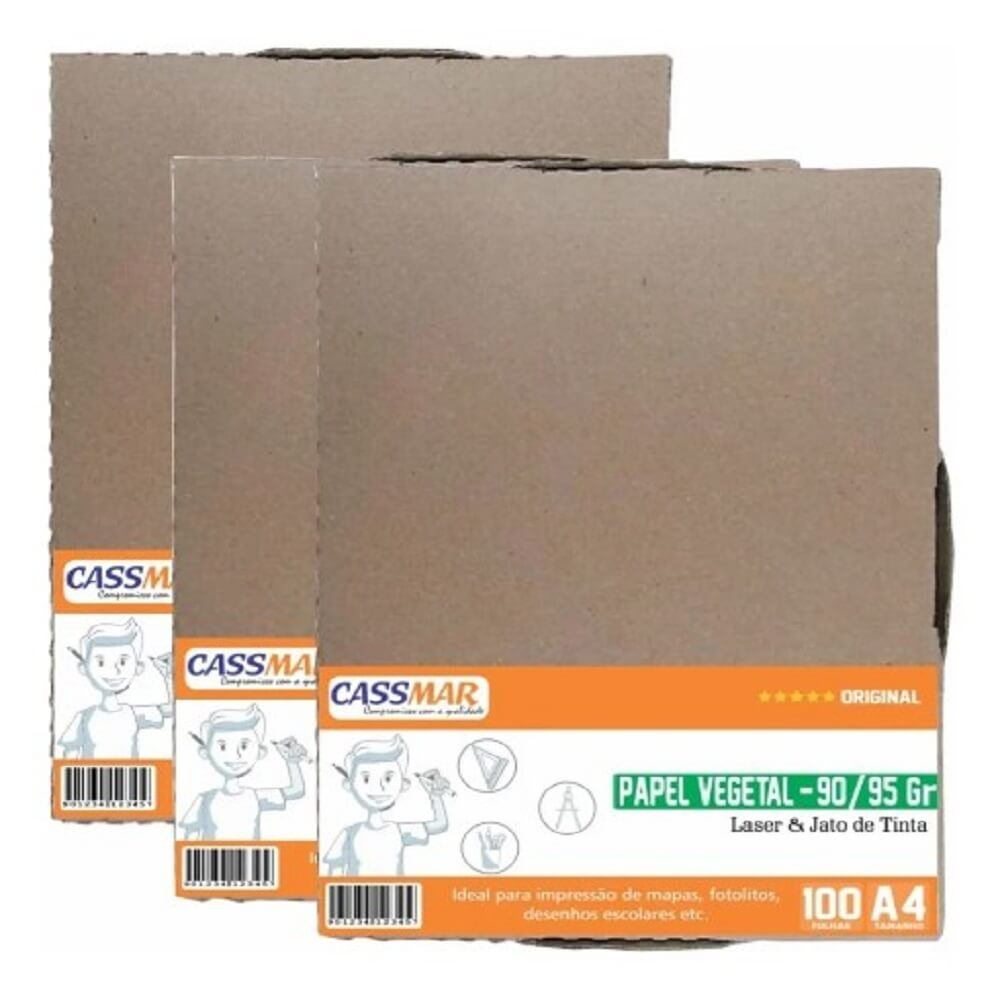 Papel Vegetal A4 210x297mm 90/95 G/m² Translúcido 300fls