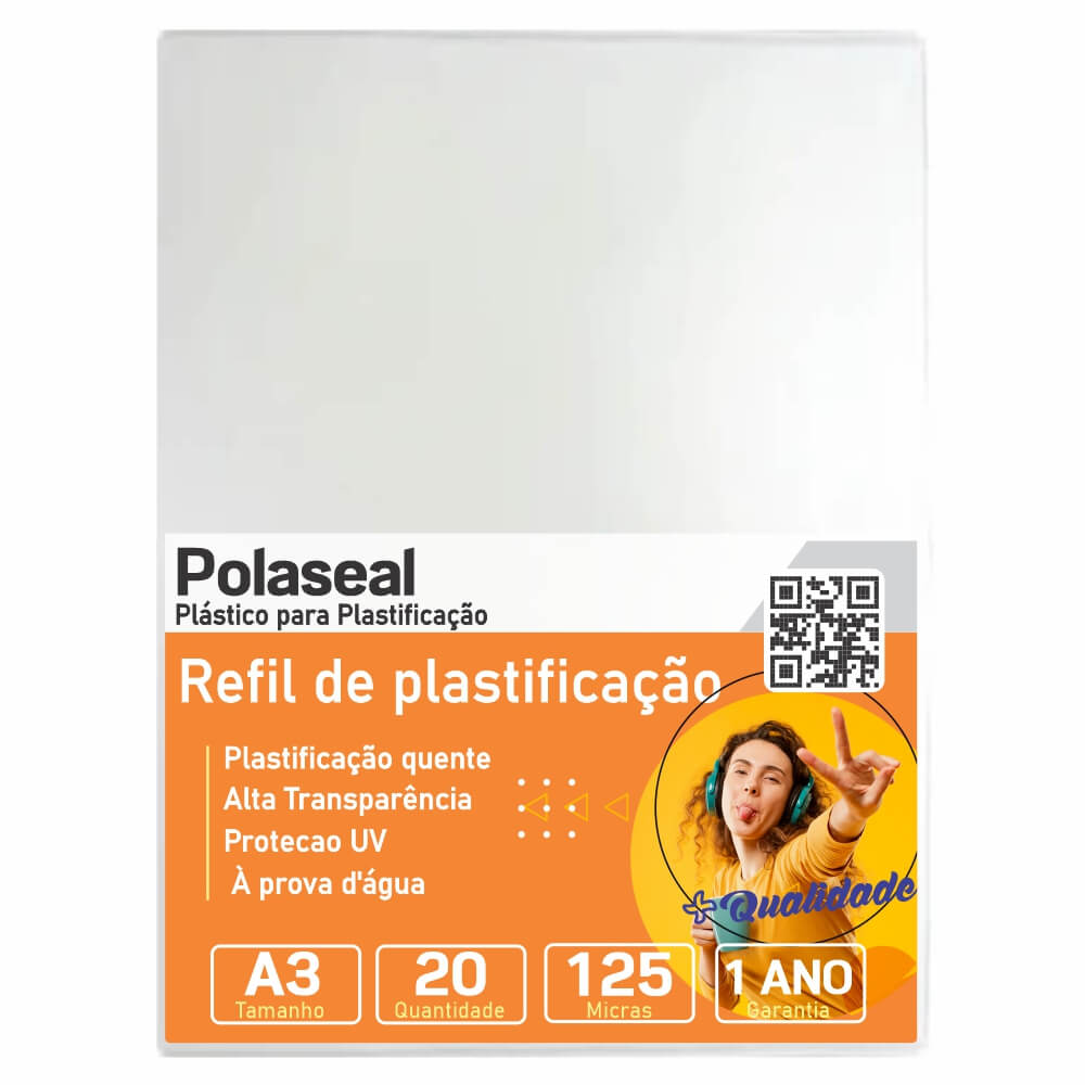 Polaseal Plástico para Plastificação A3 303x426x0,05mm 20un