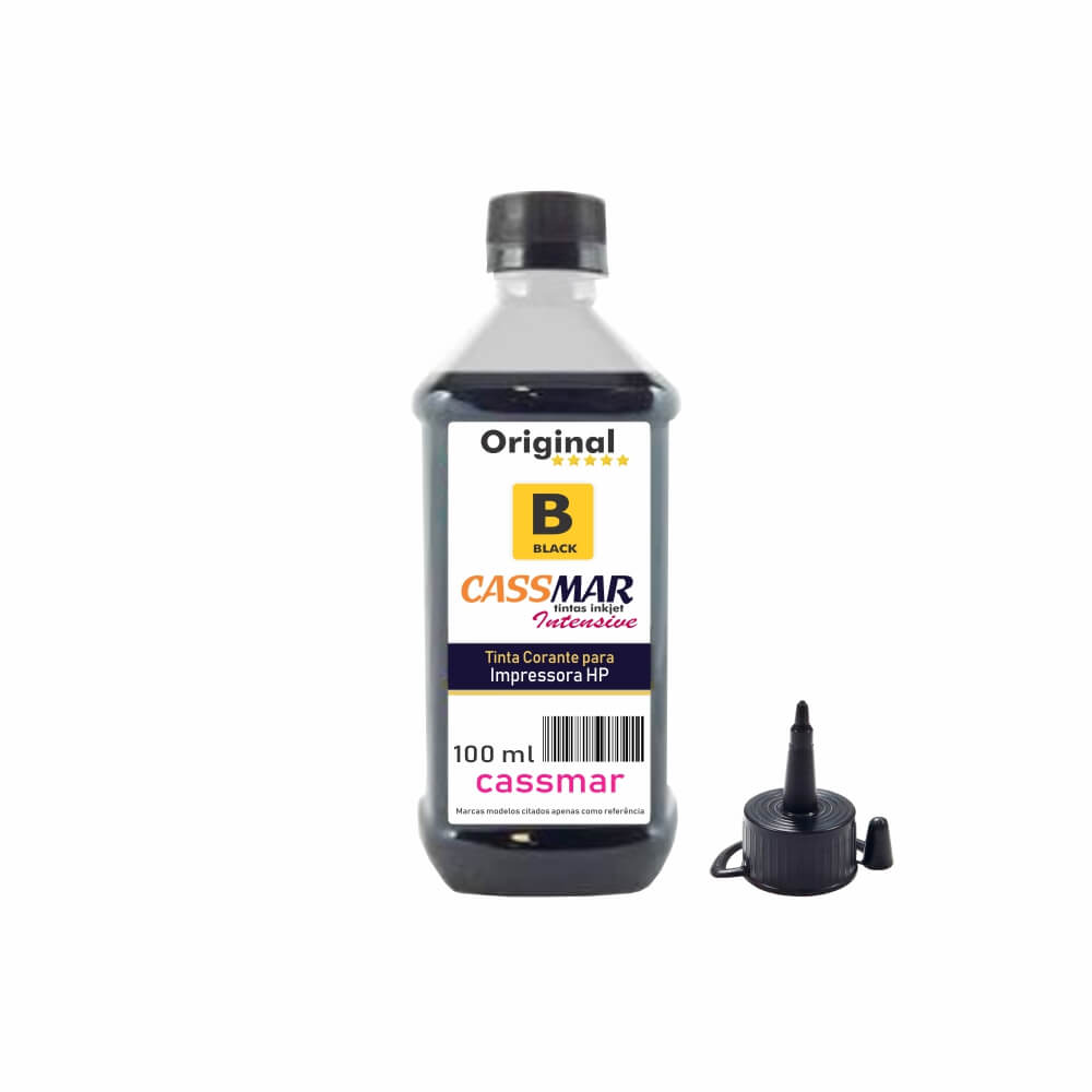 Tinta para impressora HP Black Compatível Cassmar 100ml