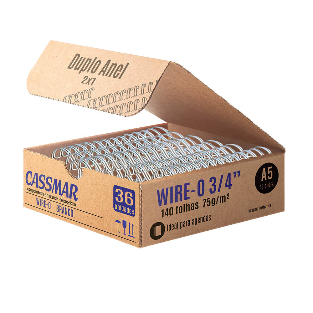 Wire-o para Encadernação 2x1 A5 Branco 3/4 para 140fls 36un