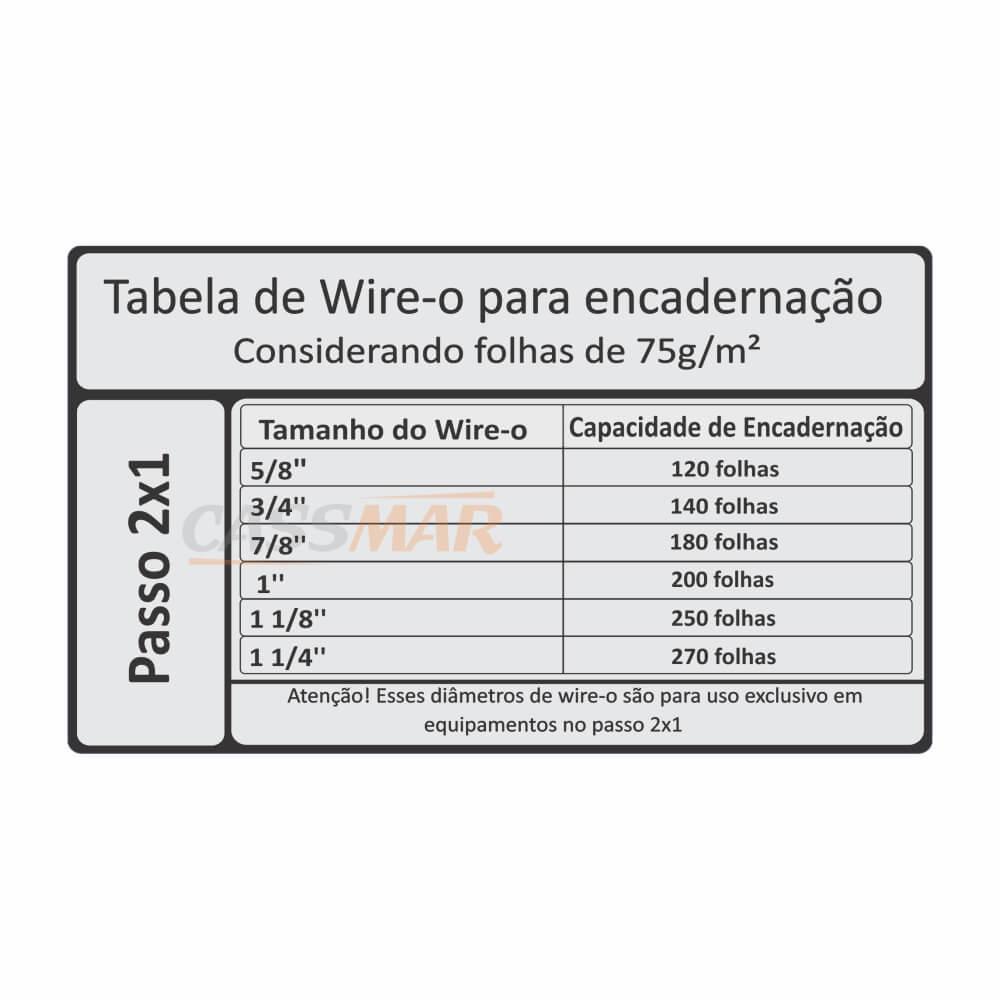 Wire-o para Encadernação 2x1 A4 Branco 3/4 para 140fls 50un